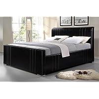 King Size großes Kunstlederbett Polsterbett Komfortbett braunes Bettgestell 180x200 cm Material A++ Qualität schöne...