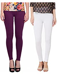 Keemono High Quality Stretchable Cotton Lycra Purple Heart & White Color Ankle Length Leggings Combo