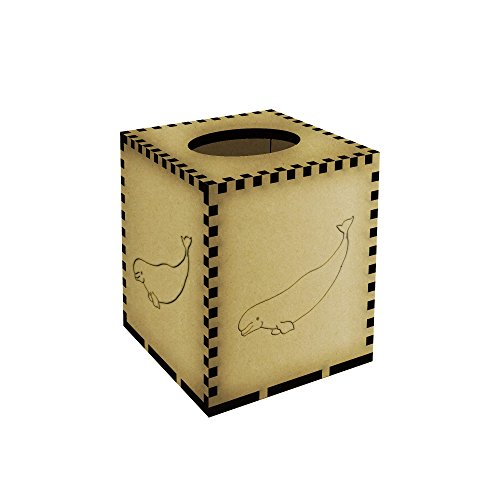 Square Beluga Whale Engraved Wooden Tissue Box Cover (TB00003865)