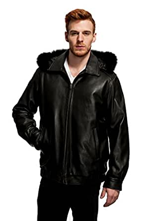 Mason & Cooper Lanza Leather/Fox Trim Jacket at Amazon Men