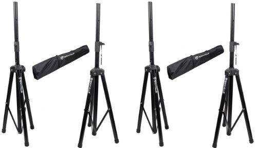 (2) Pairs Rockville Rvss2 Heavy Duty Adjustable Pro Pa Speaker Stands + Carrying Cases