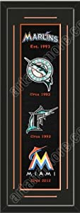 Heritage Banner Of Miami Marlins With Team Color Double Matting-Framed Awesome &... by Art and More, Davenport, IA
