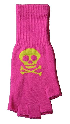 Yellow and Pink Skull and Crossbones Fingerless Texting Gloves - 1