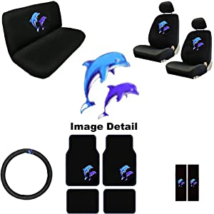 15pc ocean blue purple dolphins auto accessories interior combo kit gift set. Black Bedroom Furniture Sets. Home Design Ideas