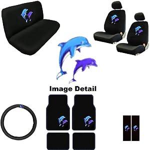 15pc ocean blue purple dolphins auto accessories interior combo kit gift set. Black Bedroom Furniture Sets. Home Design Ideas