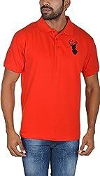 Le Beau Classics Men's Cotton Polo T-Shirts GR_005_ Red_M