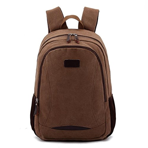 Men'S Big Canvas Casual All Cotton Travelling Bag Backpacks Travel Bag Pocket Coffe Fit For 14' Notebook