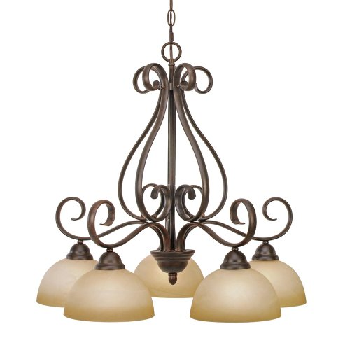 Golden Lighting 1567-D5 PC Riverton Five Light Nook Chandelier, Peppercorn Finish