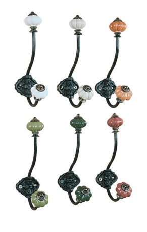 Assorted Set of 6 Single Wall Hooks with Colorful Knobs, 7 Inches Each