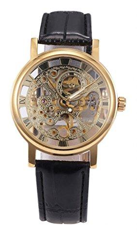 Winner Fashion Skeleton Golden Dial Hand-Winding Mechanical Men'S Wrist Watch