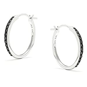 Diamond Addiction Sterling Silver Black Diamond Accent Hoop Earrings