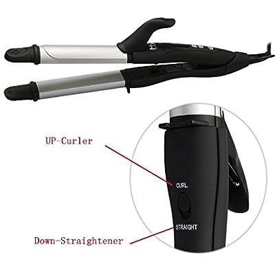 MHD 2 in 1 Hair Straightener and Hair Curler Ceramic Instant Heat Curling Iron (Black)