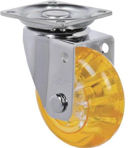 "Schioppa, Glap 210 Gel Orange, 2"" (50 Mm) Swivel Non-Brake Caster, Non-Marking Polyurethane Whl, 90 Lbs, Plate: 1-21/32 X 1-21/32"" (Bh 1-1/4 X 1-1/4"") front-461195"