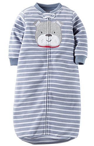 Carters One Piece Zoo Animals Micro Fleece Sleep Bag or Sack (0-9 Months, Blue Bulldog)