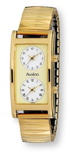 Avalon Men's World Traveler Dual Time Zone Gold Tone Expansion Band Watch # 7077-FG3Avalon Men's World Traveler Dual Time Zone Gold Tone Expansion Band Watch # 7077-FG3