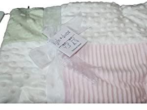 kyle & deena Baby-girls Newborn Triple Patchwork Blanket On Novelty Hanger, Pink/Sage, One Size