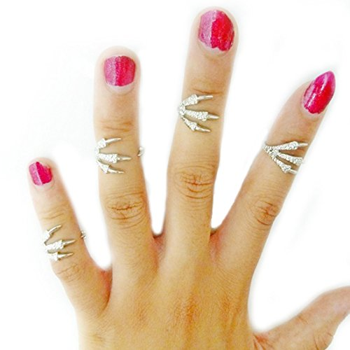 Voberry® 4 Pcs Fashion Women Chic Punk Gothic Talon Ring Joint Knuckle Nail Finger Rings (Silver)