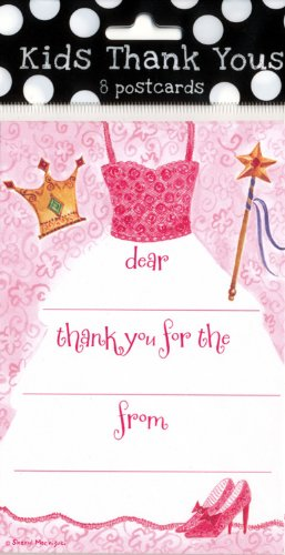Kids Thank You Pack of 8 Postcards-Princess Dress & Crown