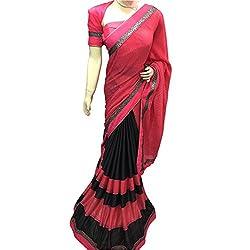 Red And Black Designer Lykra With Printed Saree.