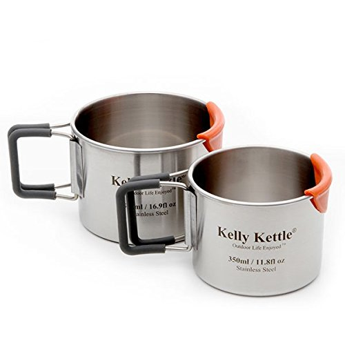 Camping Cups - Kelly Kettle - Packable - Stainless Steel - Large Cup is 17 oz. and Small Cup is 12 oz. (Kelly Cup compare prices)