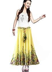 Rudraksh Fashion Yellow Colour Faux Georgette Women's Skirt