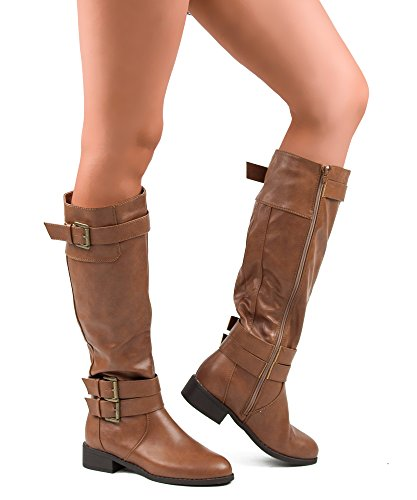 ROF Madison-11 Riding Boots (Tan PU Size 11 ) (Knee High Shoes compare prices)
