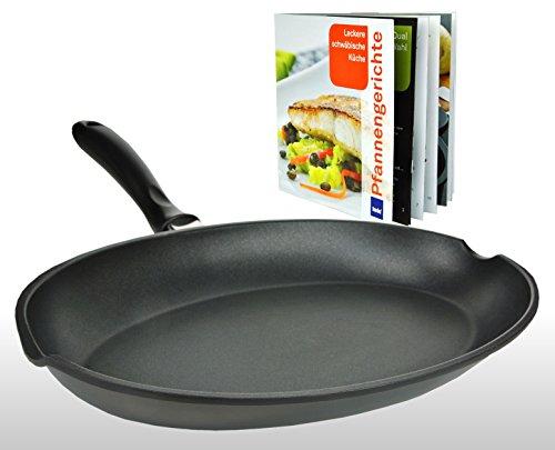 Kela Kerros Poêle à poisson en fonte d'aluminium avec 2becs verseurs + livre de recettes à la poêle en allemand (Délicieuse cuisine souabe)