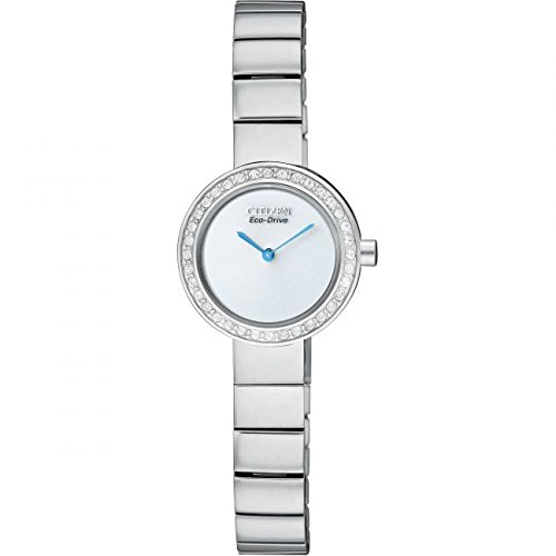 Citizen Silhoutte Crystal Women's Quartz Watch with Silver Dial Analogue Display and Silver Stainless Steel Bracelet EX1260-54A
