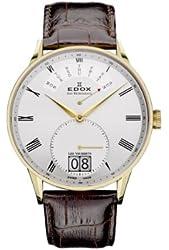 Edox Les Vauberts Silver Dial Brown Leather Strap Mens Watch 34005-37JA-AR