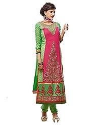 Vbuyz Womens Georgette Chudidar Salwar Suit (Green & Pink)