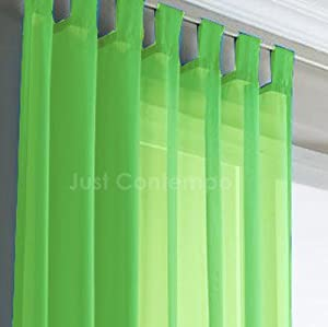 lime green voile tab top net curtain panel 58 x 72 amazon