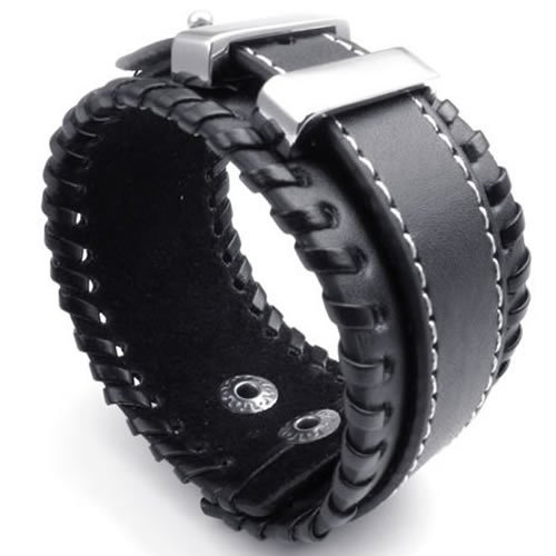 Konov Jewellery Wide Genuine Leather Unisex Mens Bangle Cuff Bracelet, Punk Rock Style, Fits 7.5