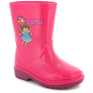 Girls Pink Dora The Explorer Wellington Boots - Pink - UK 4-12