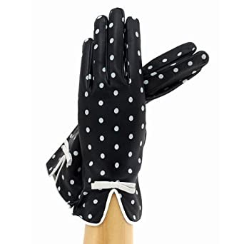 Women Italian Leather Gloves Polka Dot Blackwhite Lined