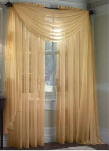 MONAGIFTS GOLD Scarf Voile Window Panel Solid sheer valance curtains 216 LONG by Jenin (Window Curtain Scarf compare prices)