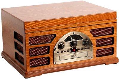 Tocadiscos retro de madera para reproductor MP3