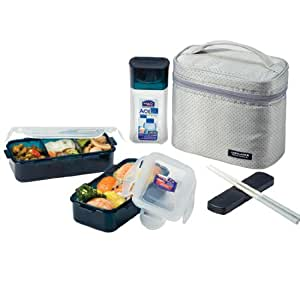 lock lock rectangular lunch box bento set w bottle hpl758dg gray kitchen home. Black Bedroom Furniture Sets. Home Design Ideas