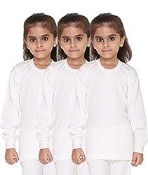 Vimal Premium Blended White Thermal Top For Girls(Pack Of 3)