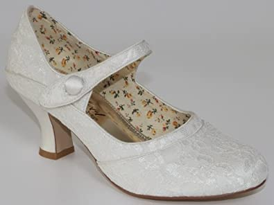 Beautiful Ivory Lace Bridal Shoe Esta Small Heel By Perfect Bridal Shoes Amazoncouk Shoes Amp Bags