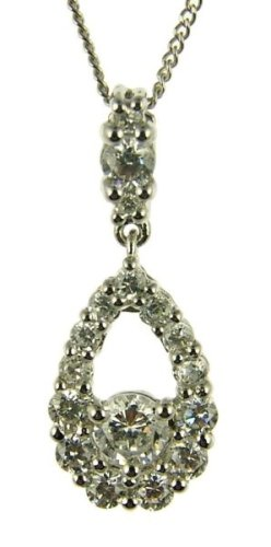 9ct White Gold Ladies' Cluster Cubic Zirconia Teardrop Pendant on 46cm Curb Chain