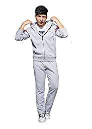 AORUI Mens Spring and Fall Sports Clothing Sets Jacket and Trousers Grey XXXL