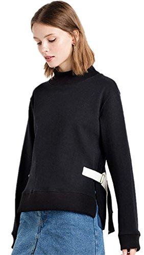 Color Block laterali con spacco spacchi Buckle Up con Collo Alto Felpa T-Shirt Maglietta Superiore Cima Top nero bianco 2XL