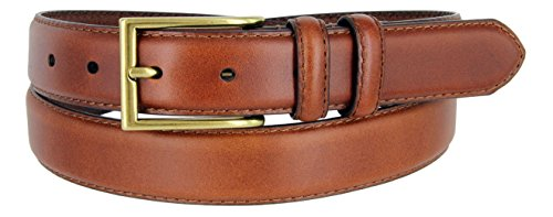 "HJ-10 Mens Italian Oil-Tanned Genuine Leather Dress Belt In Tan 1-1/8"" Wide(TAN,32)"