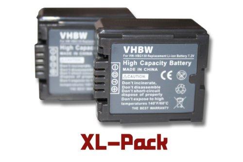 vhbw 2x Li-Ion Akku Set 1000mAh (7.2V) für Camcorder Kamera Panasonic H90, H250, H280, VDR-D50, D160, D220, D310, NV-GS320 wie VW-VBG130, VW-VBG070.