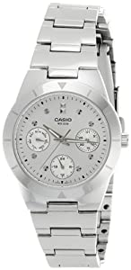 Casio Women's LTP2083D-7AV Silver Stainless-Steel Quartz Watch with Silver Dial
