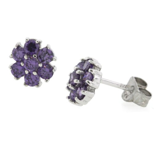 Sterling Silver Purple Amethyst CZ Daisy Flower Stud Earrings