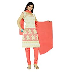 Gilora Fashions Women's Cotton Unstitched Dress Material (GF-110_Pink and white)