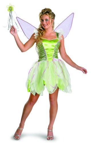 Disguise Women's Disney Fairies Tinker Bell Deluxe Costume, Green, Women 12-14