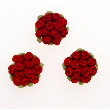デコパーツ 樹脂バラ直径2cmm大きめ クレイ薔薇の花束 レジンパーツ レジンクラフト