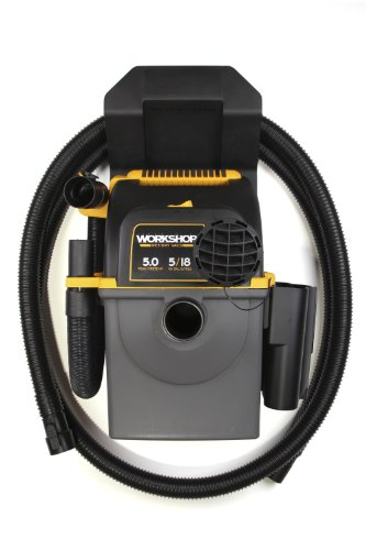 WORKSHOP Wet/Dry Vacs WS0500WM Portable Wall Mount Wet Dry Shop or Garage Vacuum, 5-Gallon, 5.0 Peak HP
